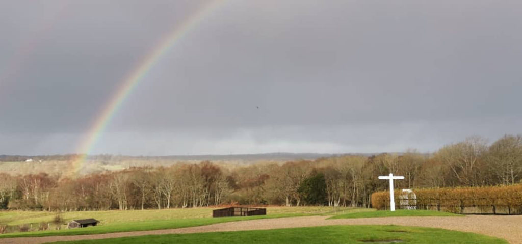 East Sussex fields and rainbow